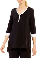 DKNY Colorblocked Henley Jersey Sleep Top