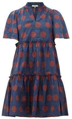Sea Penny Spot-print Tiered Cotton-blend Dress - Womens - Navy Multi