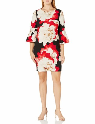 MSK Women's Floral Bell Sleeve Dress in Scuba Crepe