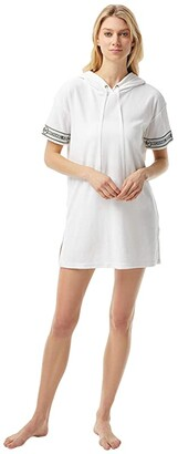 MICHAEL Michael Kors Solid Terry Cover-Up Hoodie Dress (White) Women's Swimwear