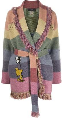 Alanui Rainbow-Stripe Tie-Waist Cardigan