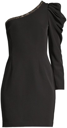Aidan Mattox One-Sleeve Ruffle Crepe Dress