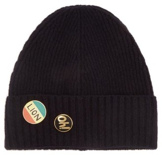 Bella Freud Pin-embellished Wool Beanie Hat - Navy