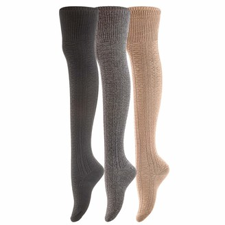 Lovely Annie Women's 3 Pairs Super Soft Incredible Durable Thigh High Cotton Boot Socks A1025 Size 2-6(Black Dark Grey Beige)