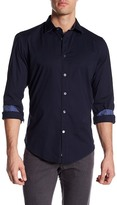 Ganesh Modern Fit Novelty Trim Solid Stretch Navy Shirt