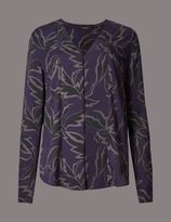 Marks and Spencer Graphic Floral Print Long Sleeve Blouse