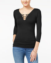 Almost Famous Juniors' Lattice-Front Ruched Top