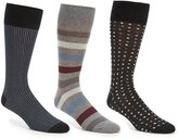 Roundtree & Yorke Gold Label Square Dot Combo Crew Dress Socks 3-Pack