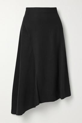 Vince Asymmetric Twill Midi Skirt - Black