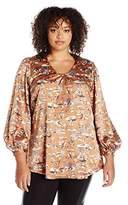 Melissa McCarthy Women's Plus Size V-Neck 3/4 Sleeve 70s Inspired Blouse