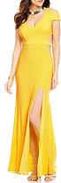 GB Social V-Neck Cold Shoulder Cutout Open Back Gown