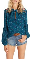 Billabong Women's Birds On High Print Tie Neck Blouse