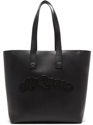 Alexander McQueen Rock Logo-applique Leather Tote Bag - Black