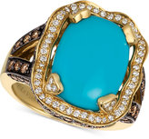 LeVian Le Vian Chocolatier® Turquoise (6-3/4 ct. t.w.) and Diamond (1-1/3 ct. t.w.) Ring in 14k Gold