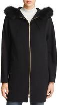 Sofia Cashmere Fur Trim Dolman Sleeve Coat