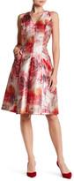 Carmen Marc Valvo V-Neck Sleeveless Pleat Dress