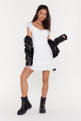 Nasty Gal Womens Frill Here Off-the-Shoulder Mini Dress - White