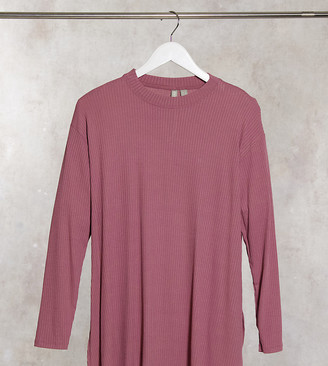 ASOS DESIGN Maternity top with side splits and long sleeve in clean rib in mauve