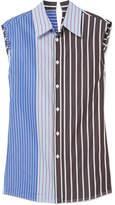 Marni Paneled Striped Cotton-poplin Shirt - Blue