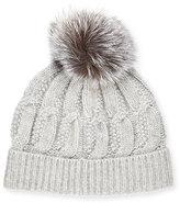 Sofia Cashmere Cable-Knit Cashmere Fur-Pom Beanie Hat, Gray