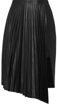 Belstaff Valentina Asymmetric Pleated Leather And Crepe Skirt