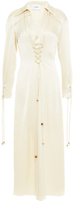 Nanushka Akita Lace-up Satin Midi Dress