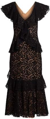 Michael Kors Lace V-Neck Ruffle Midi Dress