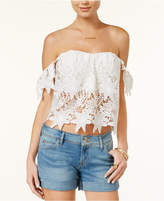 Astr Adela Floral-Lace Crop Top