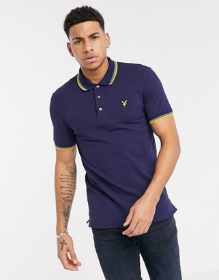Lyle & Scott tipped polo in navy