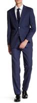 English Laundry Trim Fit Blue Check Two Button Peak Lapel Suit