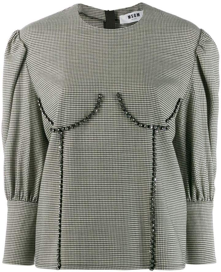 MSGM bust detailed houndstooth blouse