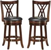 Baxton Studio Wholesale Interiors Bloomfield Swivel Bar Stool with Upholstered Seat, Set of 2, 29-Inch