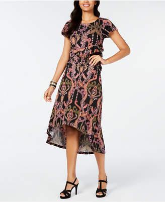 Thalia Sodi Printed Cutout-Waist High-Low Hem Dress