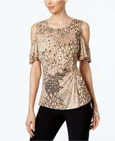 MSK Cold-Shoulder Embellished Blouse