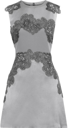 Alberta Ferretti Lace-appliqued Silk-satin Mini Dress