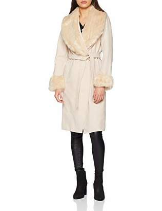 New Look Women's Fur Collar and Cuff 5944699 Coat,8 (Size:8)