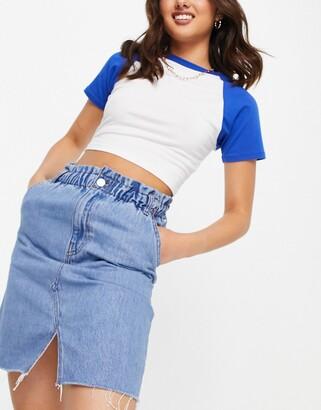 Monki Annie organic cotton blend denim mini skirt in mid wash