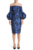 Lela Rose Women's Fring Brocade Puff Sleeve Dress