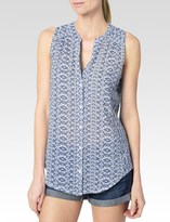 Paige Bonnie Top - White & Harbor Blue Sadie Print
