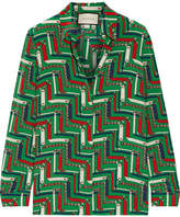 Gucci Printed Silk Crepe De Chine Shirt - Green