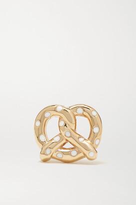 Alison Lou Pretzel 14-karat Gold And Enamel Earring - one size
