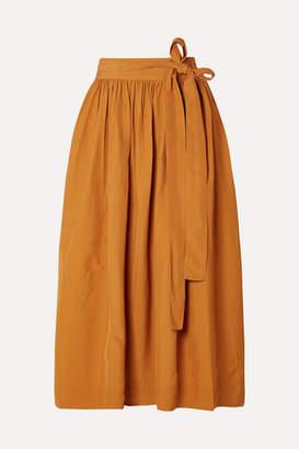 Co Pleated Broadcloth Wrap Skirt - Saffron