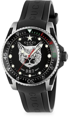 Gucci Diver Cat Motif Rubber Strap Watch