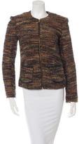 L'Agence Leather-Trimmed Tweed Jacket
