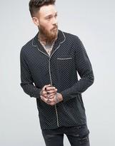Asos Regular Fit Viscose Pajama Shirt With Polka Dot Print And Piping