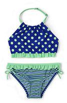 Classic Little Girls Bikini Swimsuit Set-Sky Blue Chevron