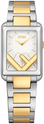 Fendi Men's Rectangular Two-Tone Bracelet Watch