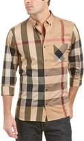 Burberry Thornaby Button-Down Collar Check Stretch Cotton Blend Shirt
