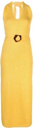 Nicholas Marl-Knit Belted Halter Neck Dress