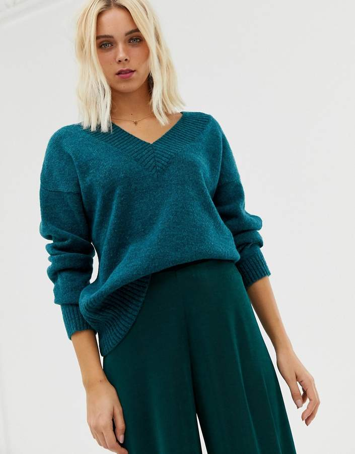 v neck sweater in teal